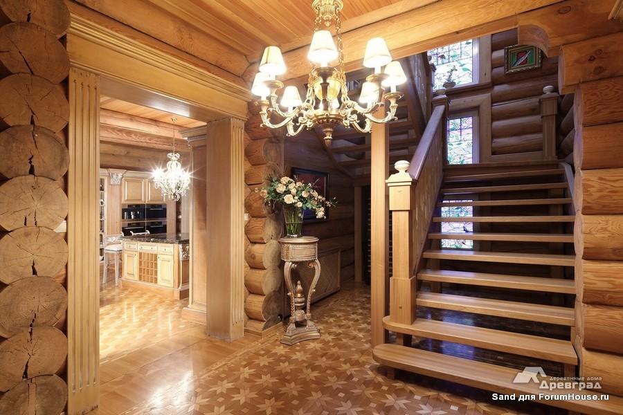 дизайн в деревянном доме из оцилиндрованного бревна